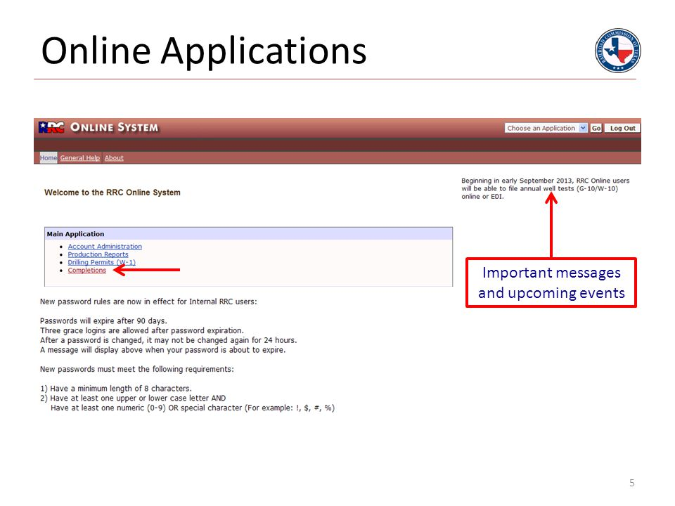 Online Applications Important messages and upcoming events 5