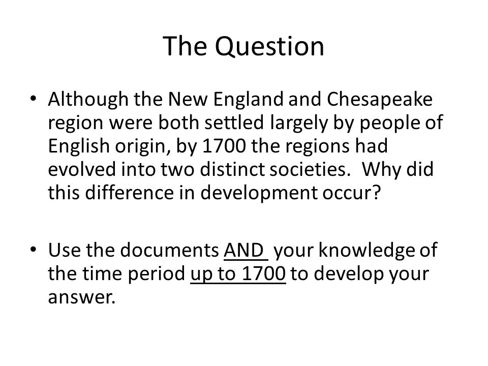 new england and chesapeake regions essay The reasons that resulted in the differences between the new england and the chesapeake colonies were political, social, and economicthe political reasons for the differences were that in new england there was a basic plan.