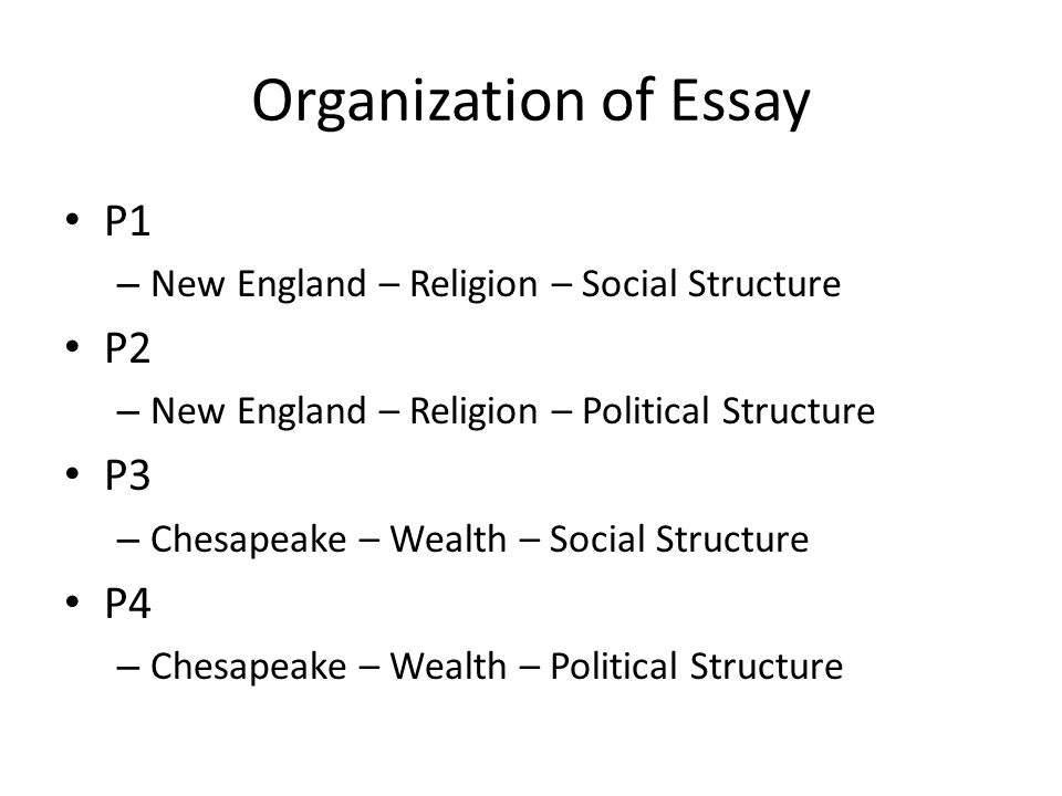 Organization of Essay P1 – New England – Religion – Social Structure P2 – New England – Religion – Political Structure P3 – Chesapeake – Wealth – Soci