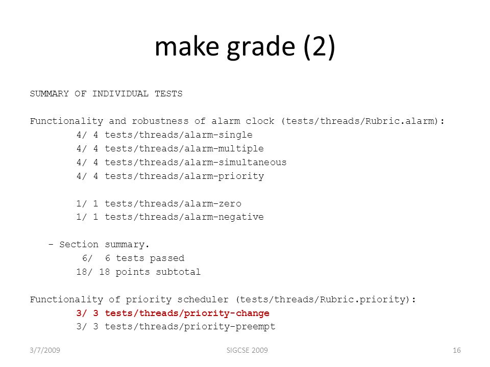 make grade (2) SUMMARY OF INDIVIDUAL TESTS Functionality and robustness of alarm clock (tests/threads/Rubric.alarm): 4/ 4 tests/threads/alarm-single 4/ 4 tests/threads/alarm-multiple 4/ 4 tests/threads/alarm-simultaneous 4/ 4 tests/threads/alarm-priority 1/ 1 tests/threads/alarm-zero 1/ 1 tests/threads/alarm-negative - Section summary.