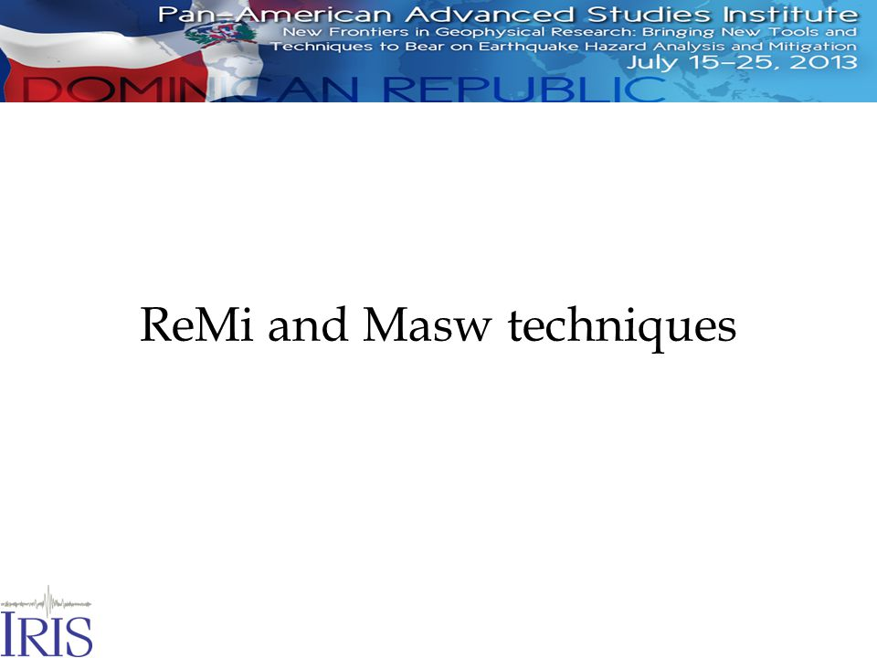 ReMi and Masw techniques