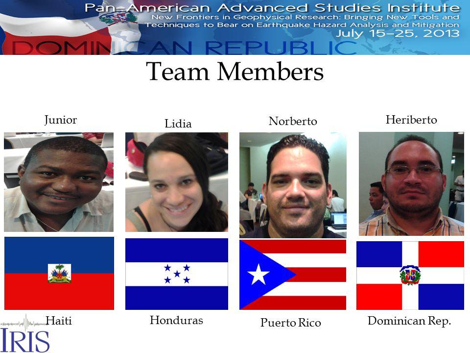 Team Members Junior Haiti Lidia Honduras Norberto Puerto Rico Heriberto Dominican Rep.