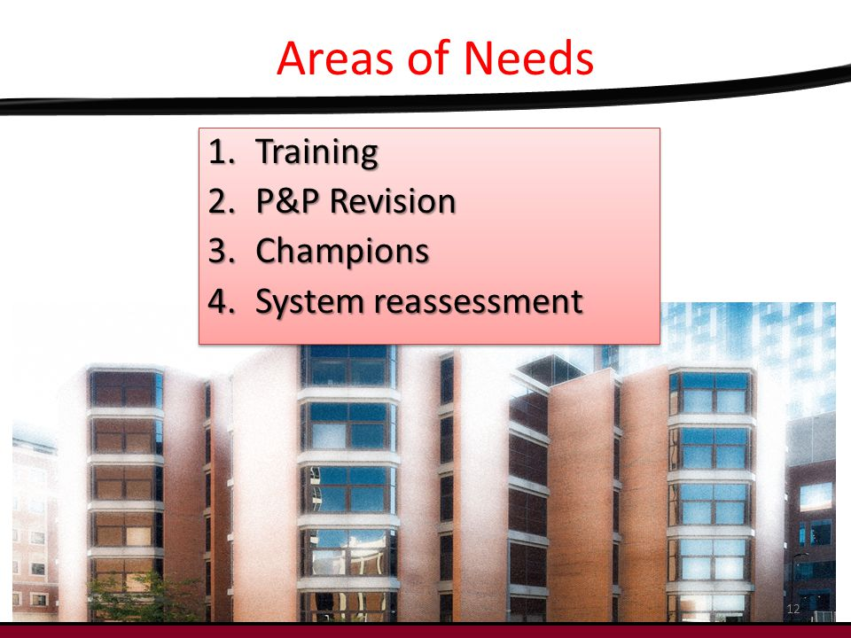 Areas of Needs 1.Training 2.P&P Revision 3.Champions 4.System reassessment 1.Training 2.P&P Revision 3.Champions 4.System reassessment 12