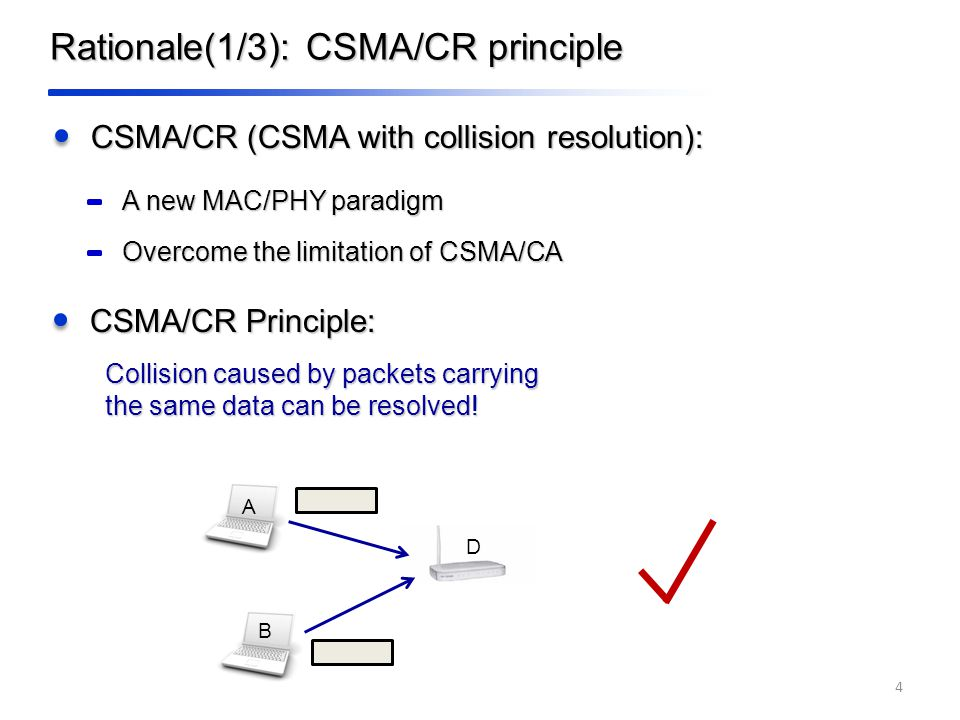 Rationale(1/3): CSMA/CR principle CSMA/CR (CSMA with collision resolution): 4 CSMA/CR Principle: Collision caused by packets carrying the same data can be resolved.