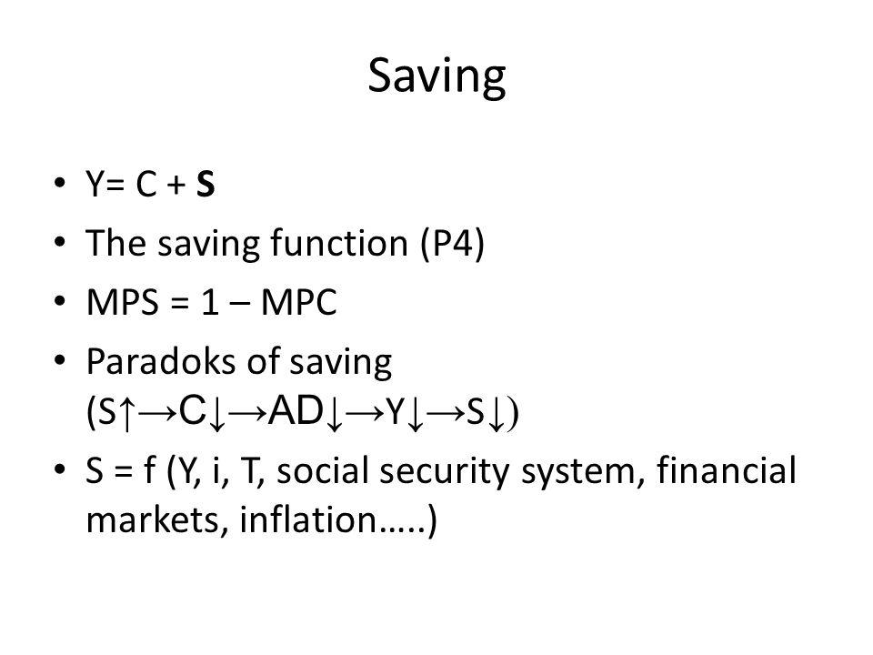 Saving Y= C + S The saving function (P4) MPS = 1 – MPC Paradoks of saving (S ↑ →C ↓ →AD ↓ → Y ↓ → S ↓) S = f (Y, i, T, social security system, financi