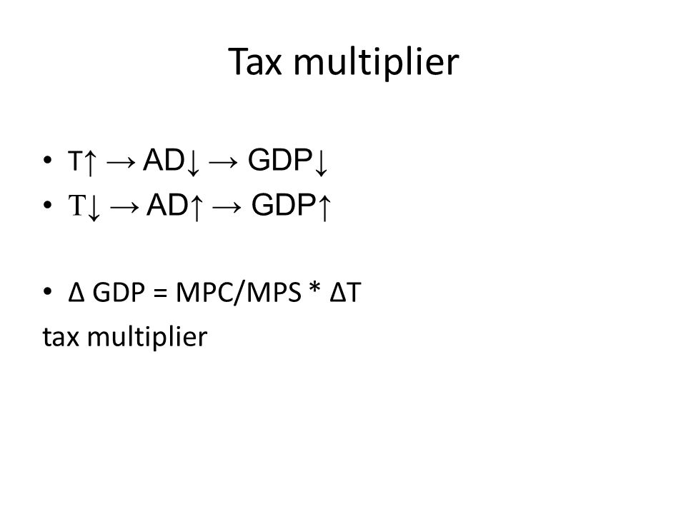 Tax multiplier T ↑ → AD ↓ → GDP ↓ T↓ → AD ↑ → GDP ↑ ∆ GDP = MPC/MPS * ∆T tax multiplier
