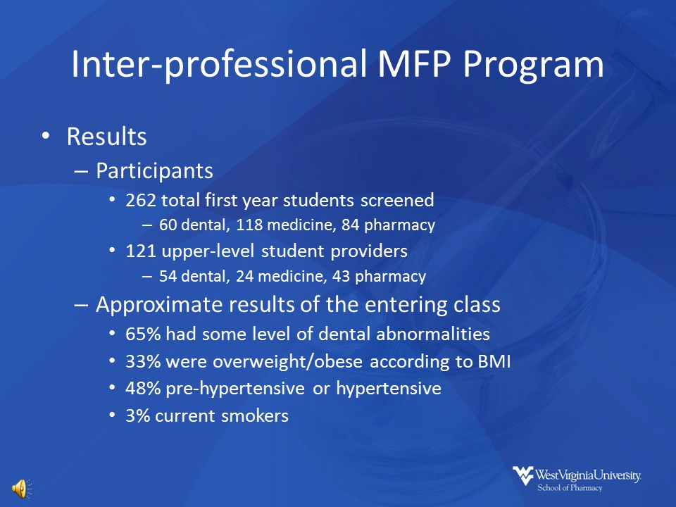 Inter-professional MFP Program Objectives – Provide skill development and patient care experience to the upper level dentistry, medicine, and pharmacy students.