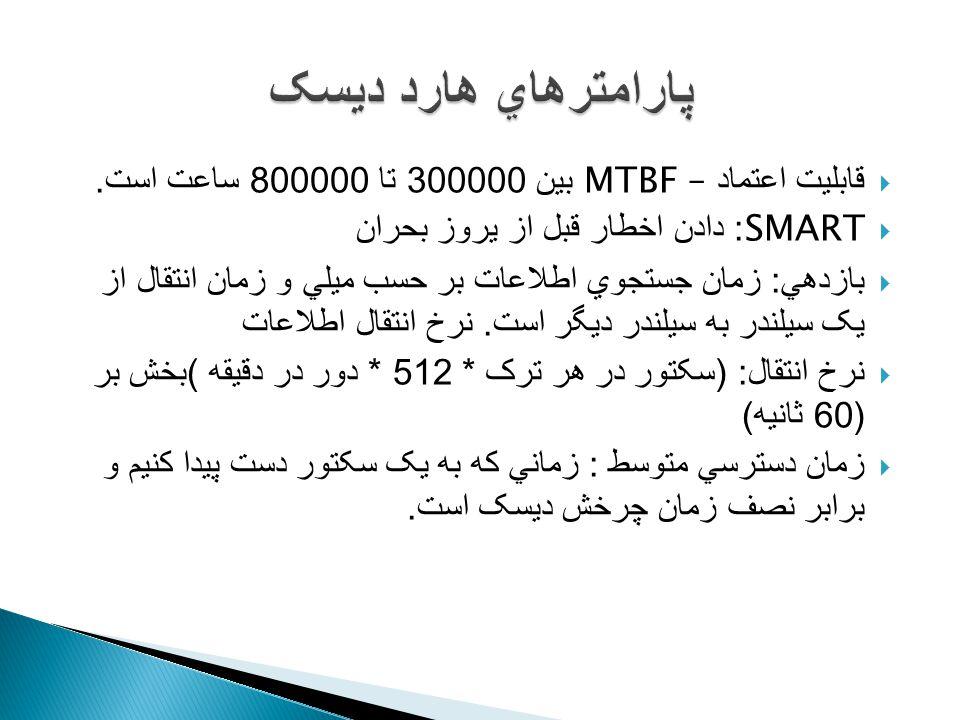  قابليت اعتماد – MTBF بين 300000 تا 800000 ساعت است.