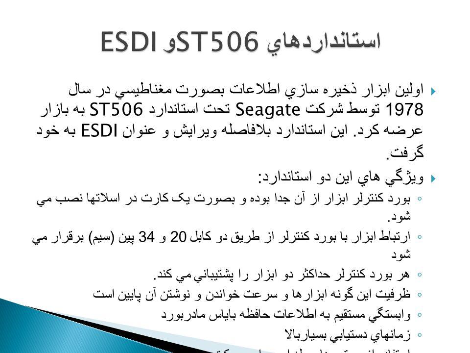  اولين ابزار ذخيره سازي اطلاعات بصورت مغناطيسي در سال 1978 توسط شرکت Seagate تحت استاندارد ST506 به بازار عرضه کرد.