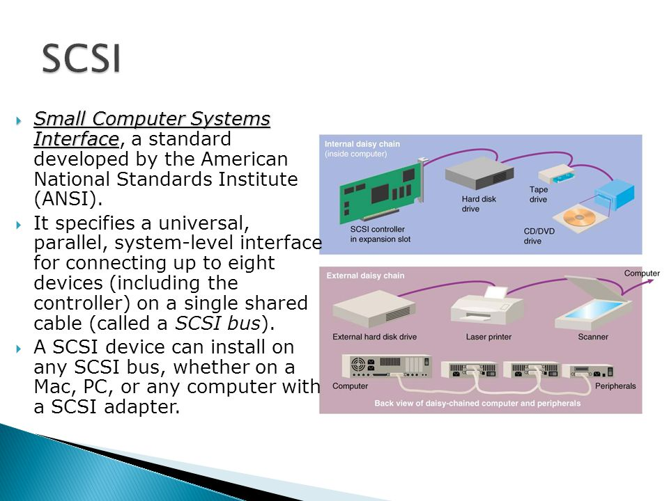  Small Computer Systems Interface  Small Computer Systems Interface, a standard developed by the American National Standards Institute (ANSI).