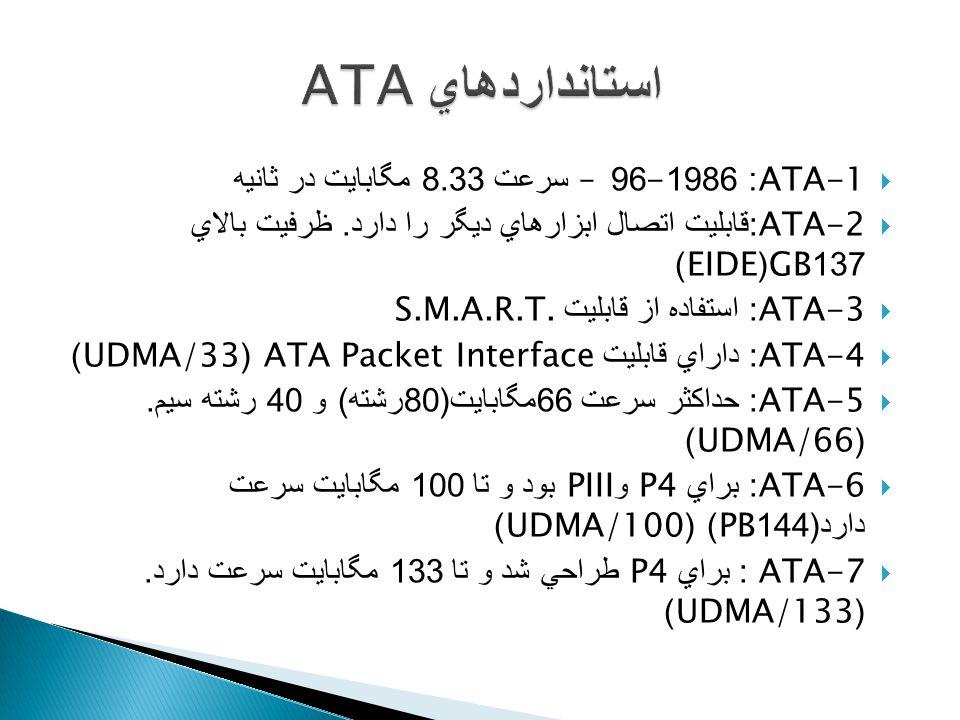  ATA-1: 1986-96 – سرعت 8.33 مگابايت در ثانيه  ATA-2: قابليت اتصال ابزارهاي ديگر را دارد.