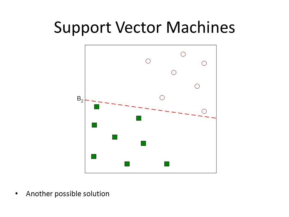 Support Vector Machines Another possible solution