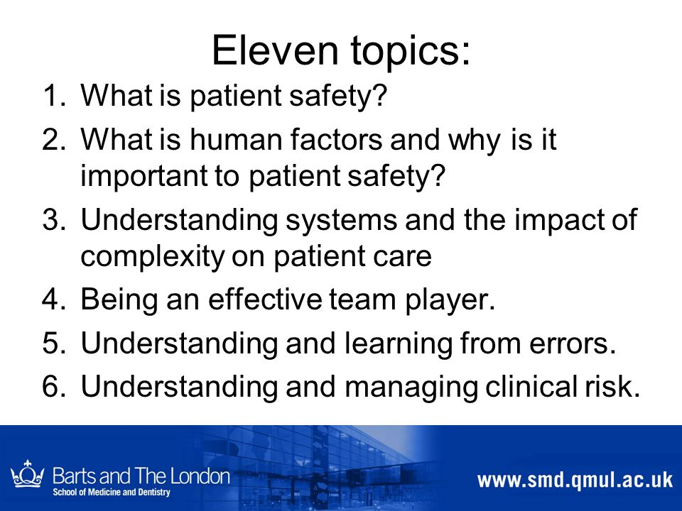 Eleven topics: 1.What is patient safety.