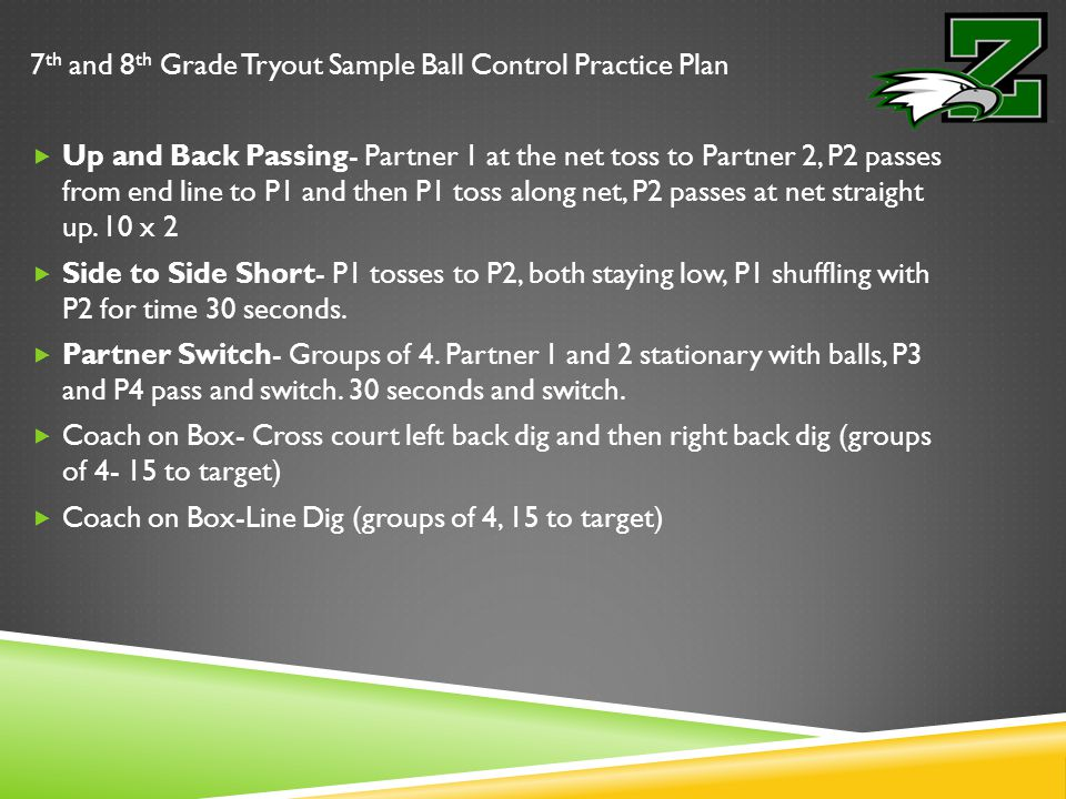 Hitting Ball Control Practice Plan  Toss to self hit ball over net (looking for toss and hand ball control)  Coach toss  Out of System Coach Toss  Hitting lines with setter  Rapid Fire 5 (4 ball)(Each player goes individually.