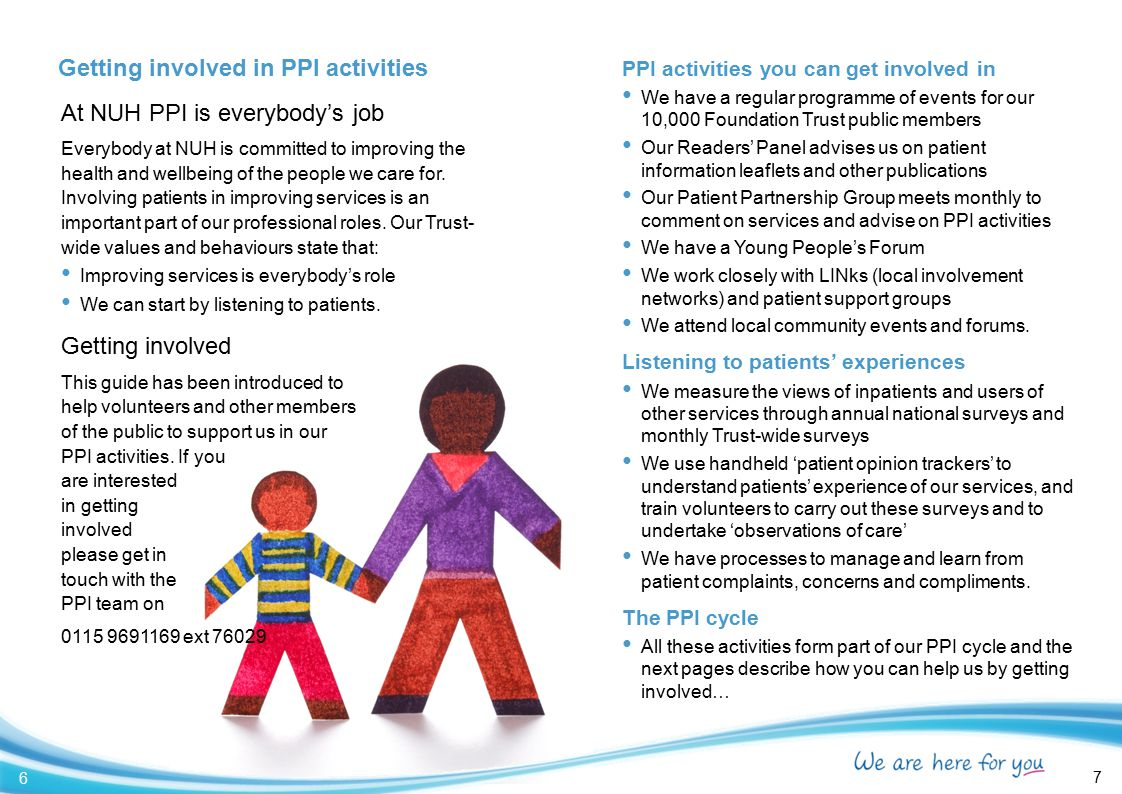 PPI activities you can get involved in We have a regular programme of events for our 10,000 Foundation Trust public members Our Readers' Panel advises