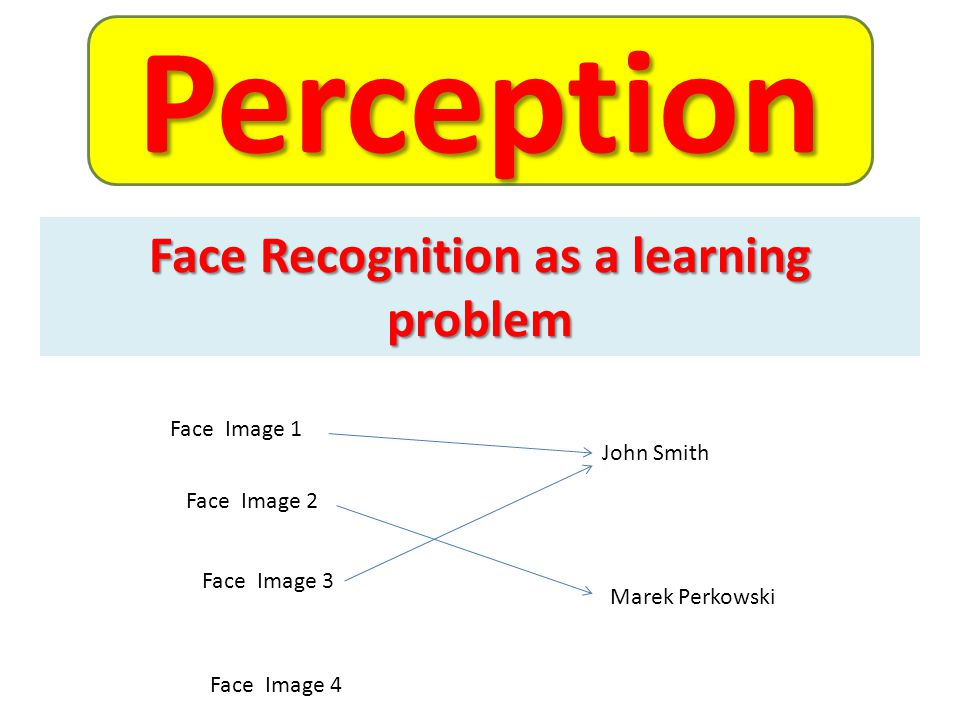 Face Image 1 Face Image 2 Face Image 3 Face Image 4 John Smith Marek Perkowski Face Recognition as a learning problem Perception