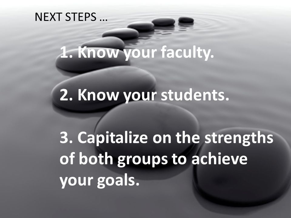 NEXT STEPS … 1. Know your faculty. 2. Know your students.