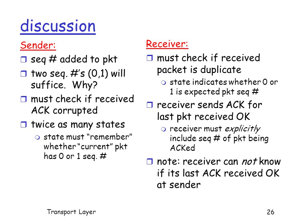 discussion Sender: r seq # added to pkt r two seq.