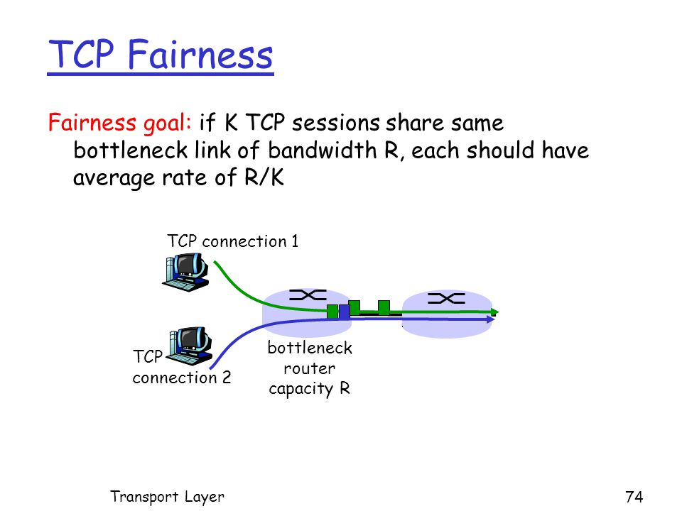 Fairness goal: if K TCP sessions share same bottleneck link of bandwidth R, each should have average rate of R/K TCP connection 1 bottleneck router capacity R TCP connection 2 TCP Fairness Transport Layer 74