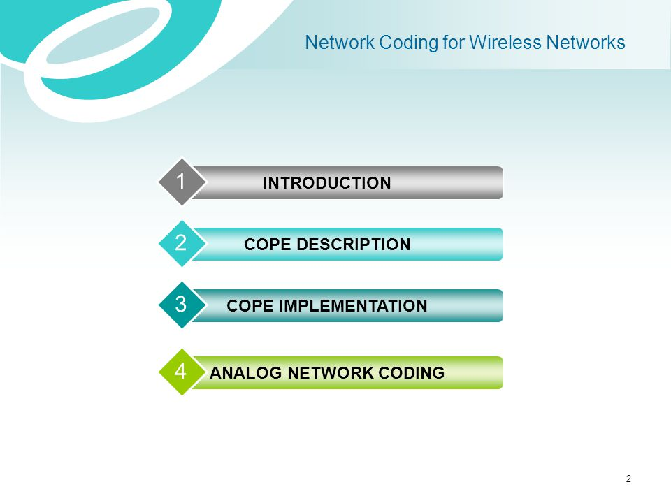 Network Coding for Wireless Networks INTRODUCTION 1 COPE DESCRIPTION 2 COPE IMPLEMENTATION 3 ANALOG NETWORK CODING 4 2