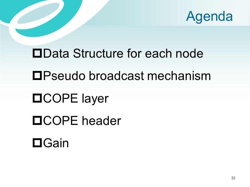 Agenda  Data Structure for each node  Pseudo broadcast mechanism  COPE layer  COPE header  Gain 53