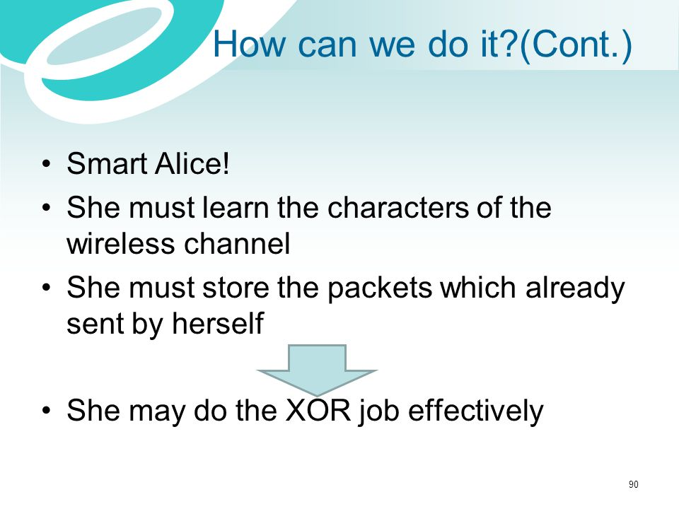 How can we do it?(Cont.) Smart Alice! She must learn the characters of the wireless channel She must store the packets which already sent by herself S