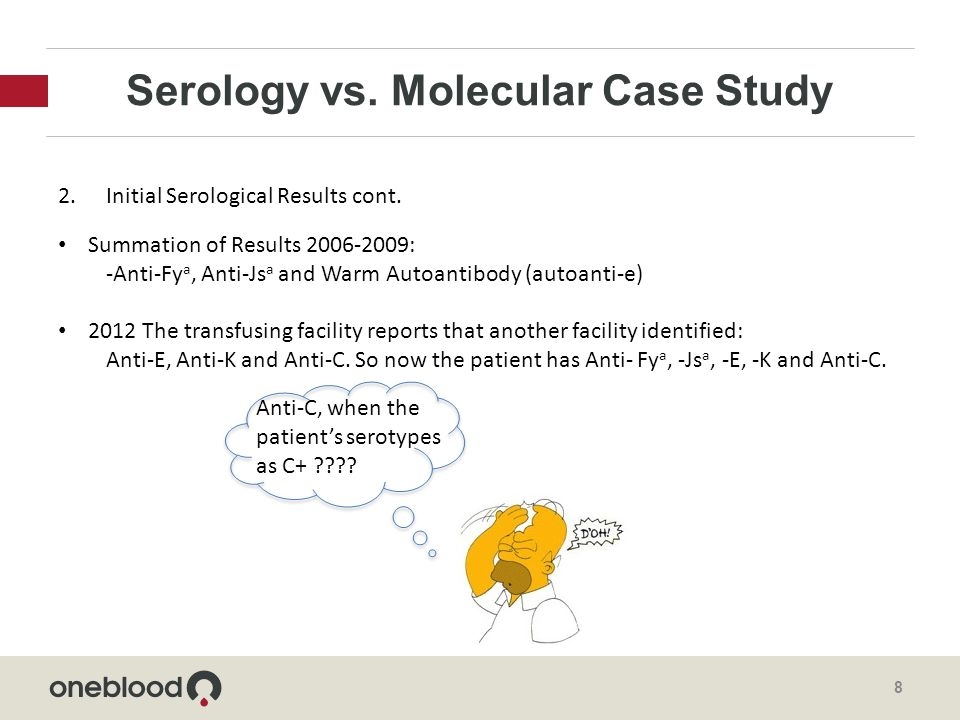 Serology vs. Molecular Case Study 8 2.Initial Serological Results cont.