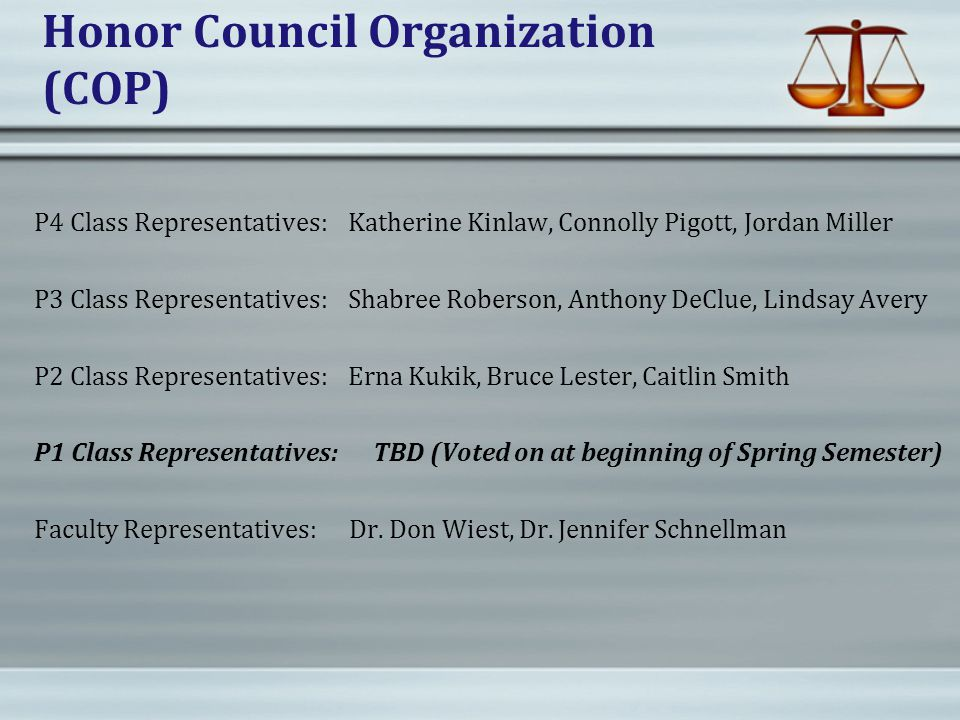 Honor Council Organization (COP) P4 Class Representatives: Katherine Kinlaw, Connolly Pigott, Jordan Miller P3 Class Representatives: Shabree Roberson, Anthony DeClue, Lindsay Avery P2 Class Representatives: Erna Kukik, Bruce Lester, Caitlin Smith P1 Class Representatives: TBD (Voted on at beginning of Spring Semester) Faculty Representatives: Dr.