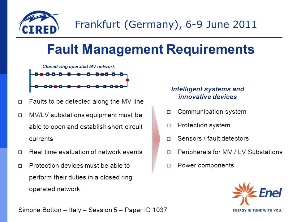 Frankfurt (Germany), 6-9 June 2011 Fault Management Requirements Closed-ring operated MV network  Faults to be detected along the MV line  MV/LV sub