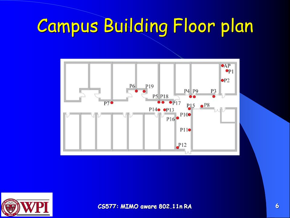 CS577: MIMO aware 802.11n RA 6 Campus Building Floor plan