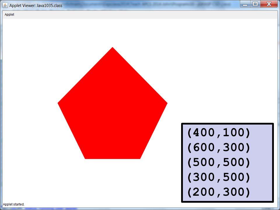 (400,100) (600,300) (500,500) (300,500) (200,300)