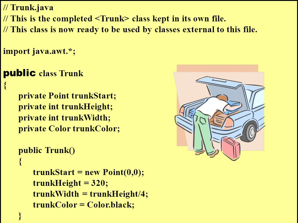 // Trunk.java // This is the completed class kept in its own file.