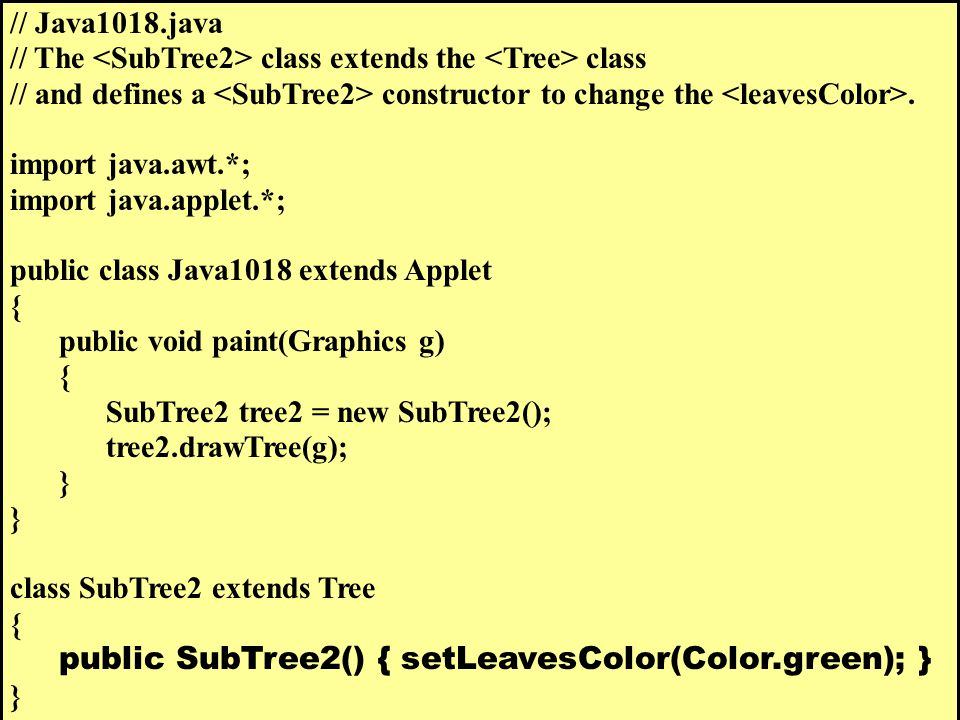 // Java1018.java // The class extends the class // and defines a constructor to change the.