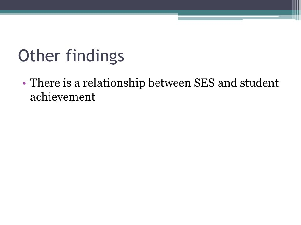 Other findings There is a relationship between SES and student achievement