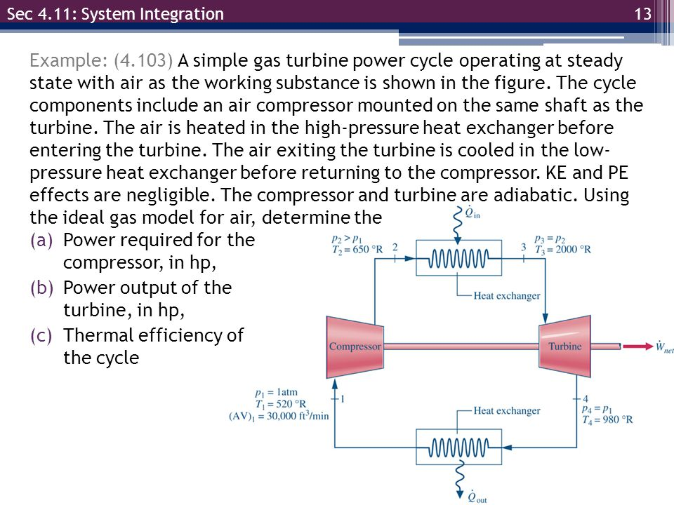 13 Example: (4.103) A simple gas turbine power cycle operating at steady state with air as the working substance is shown in the figure. The cycle com