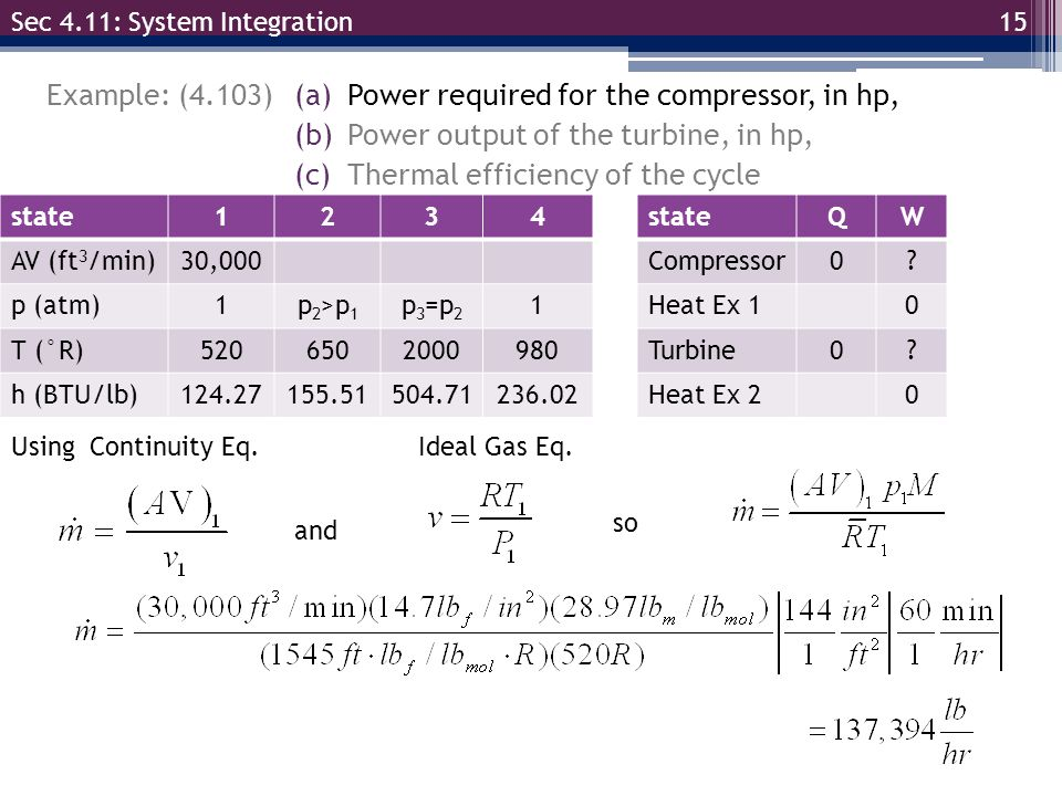 15 Example: (4.103) Sec 4.11: System Integration (a)Power required for the compressor, in hp, (b)Power output of the turbine, in hp, (c)Thermal effici