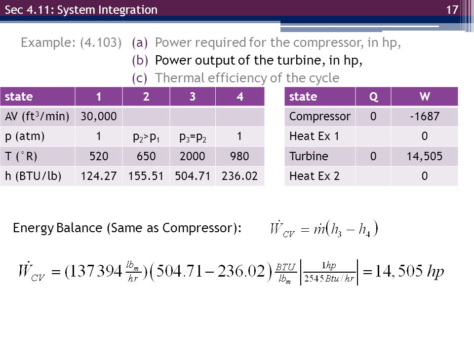 17 Example: (4.103) Sec 4.11: System Integration (a)Power required for the compressor, in hp, (b)Power output of the turbine, in hp, (c)Thermal effici