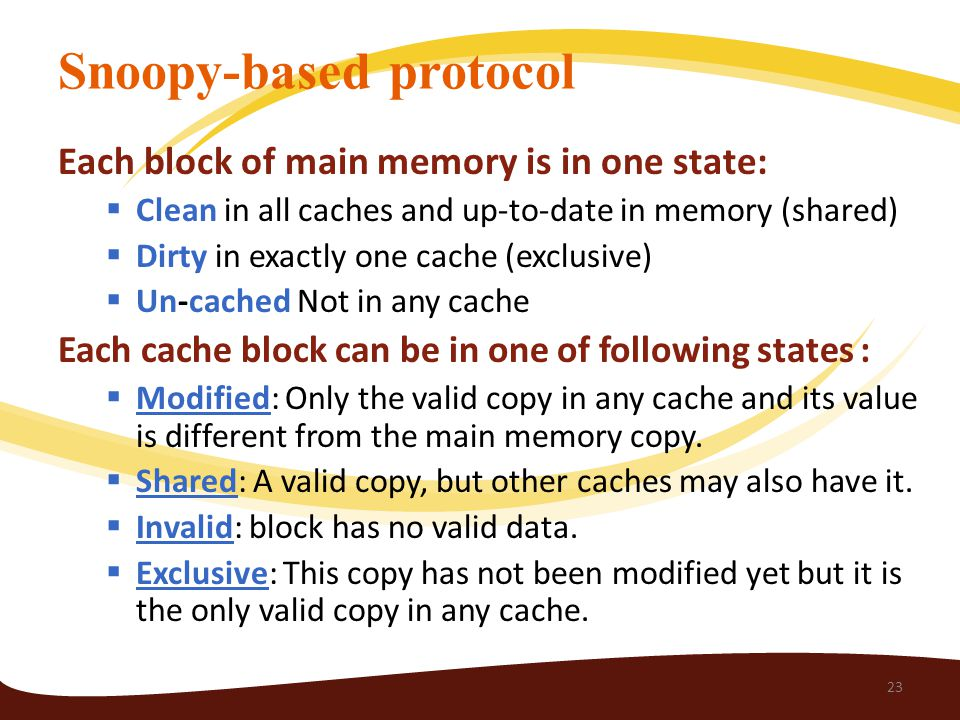Snoopy-based protocol Each block of main memory is in one state:  Clean in all caches and up-to-date in memory (shared)  Dirty in exactly one cache (exclusive)  Un-cached Not in any cache Each cache block can be in one of following states :  Modified: Only the valid copy in any cache and its value is different from the main memory copy.