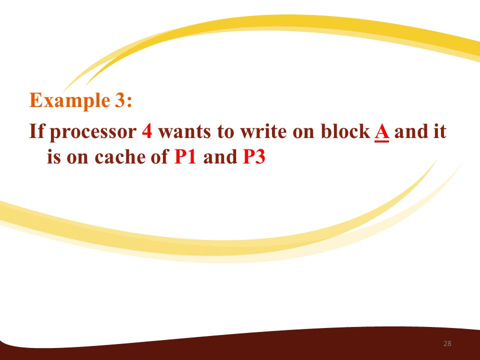 Example 3: If processor 4 wants to write on block A and it is on cache of P1 and P3 28
