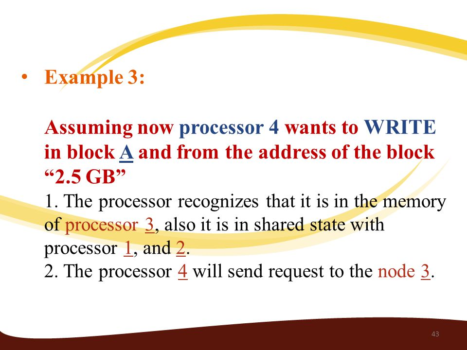 Example 3: Assuming now processor 4 wants to WRITE in block A and from the address of the block 2.5 GB 1.