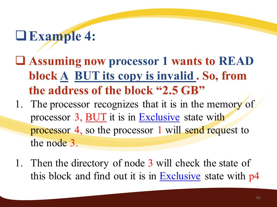  Example 4:  Assuming now processor 1 wants to READ block A BUT its copy is invalid.
