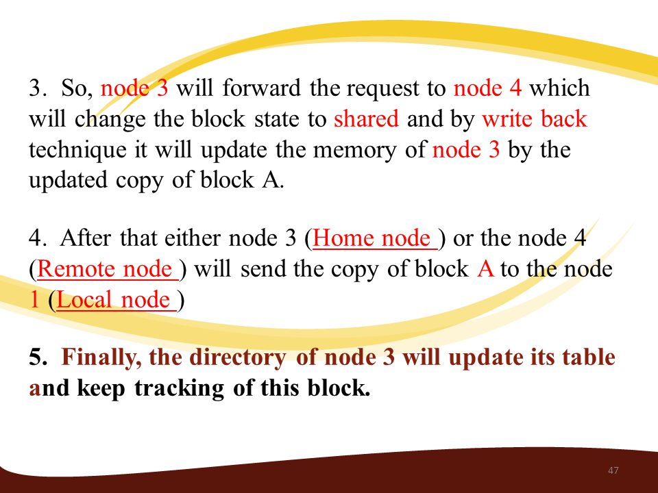 3. So, node 3 will forward the request to node 4 which will change the block state to shared and by write back technique it will update the memory of