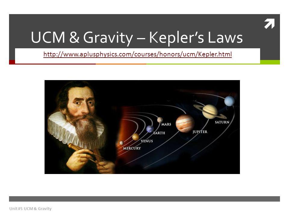  UCM & Gravity – Kepler's Laws http://www.aplusphysics.com/courses/honors/ucm/Kepler.html Unit #5 UCM & Gravity