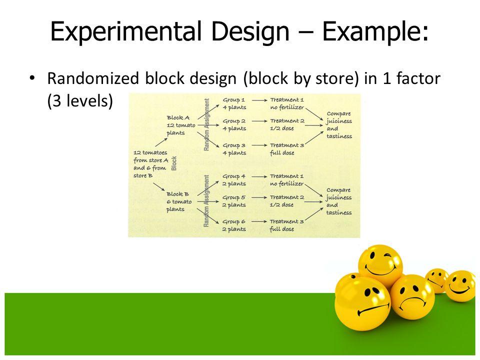 Randomized block design (block by store) in 1 factor (3 levels) Experimental Design – Example: