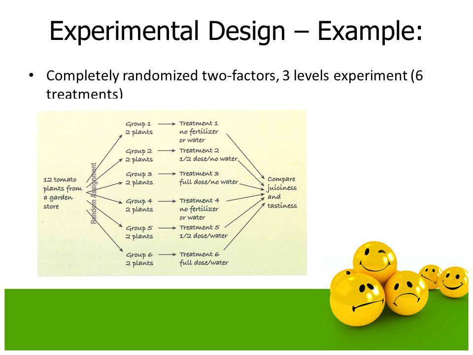 Completely randomized two-factors, 3 levels experiment (6 treatments) Experimental Design – Example: