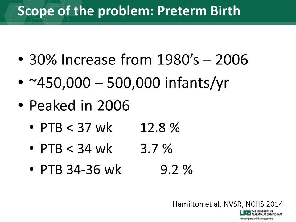 Scope of the problem: Preterm Birth 30% Increase from 1980's – 2006 ~450,000 – 500,000 infants/yr Peaked in 2006 PTB < 37 wk12.8 % PTB < 34 wk3.7 % PTB 34-36 wk9.2 % Hamilton et al, NVSR, NCHS 2014