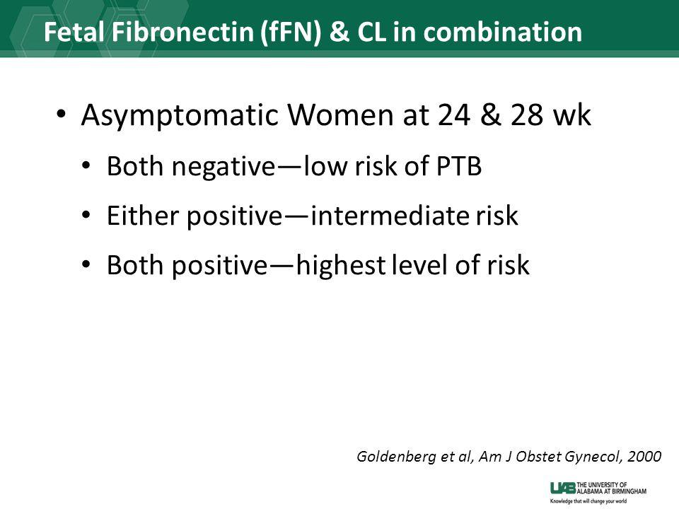 Fetal Fibronectin (fFN) & CL in combination Asymptomatic Women at 24 & 28 wk Both negative—low risk of PTB Either positive—intermediate risk Both positive—highest level of risk Goldenberg et al, Am J Obstet Gynecol, 2000