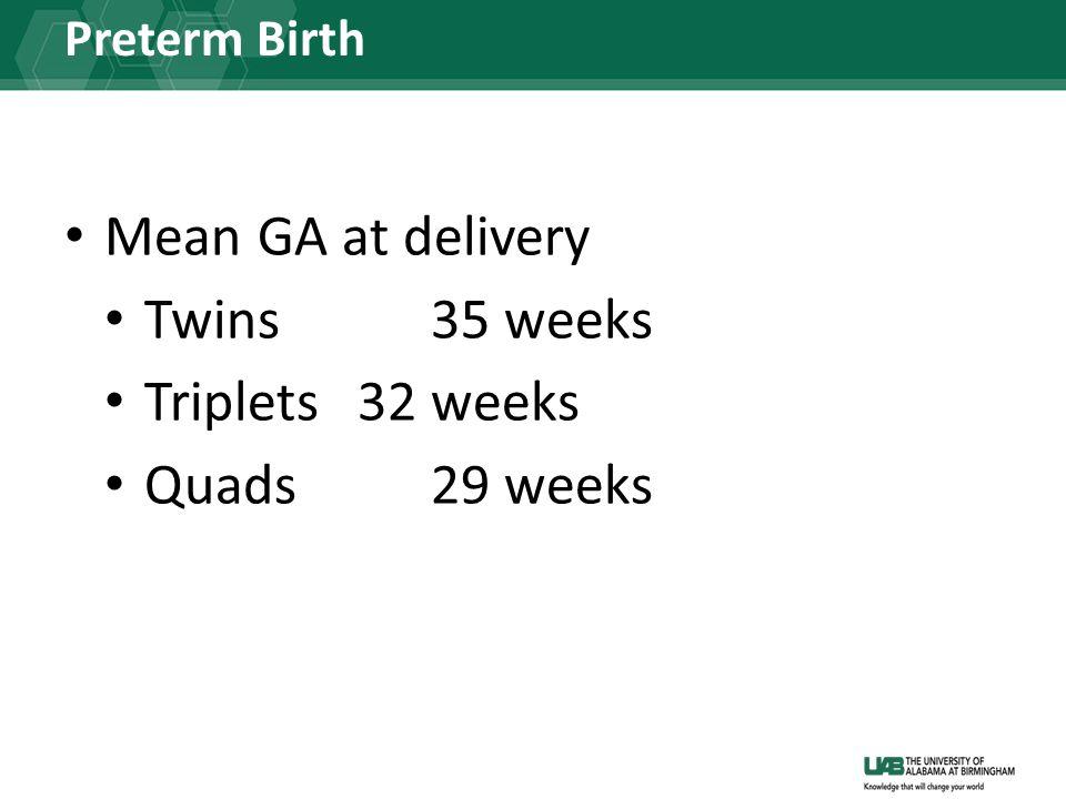 Preterm Birth Mean GA at delivery Twins 35 weeks Triplets 32 weeks Quads29 weeks