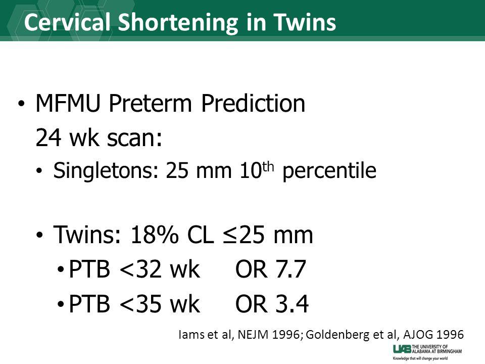 Cervical Shortening in Twins MFMU Preterm Prediction 24 wk scan: Singletons: 25 mm 10 th percentile Twins: 18% CL ≤25 mm PTB <32 wkOR 7.7 PTB <35 wkOR 3.4 Iams et al, NEJM 1996; Goldenberg et al, AJOG 1996