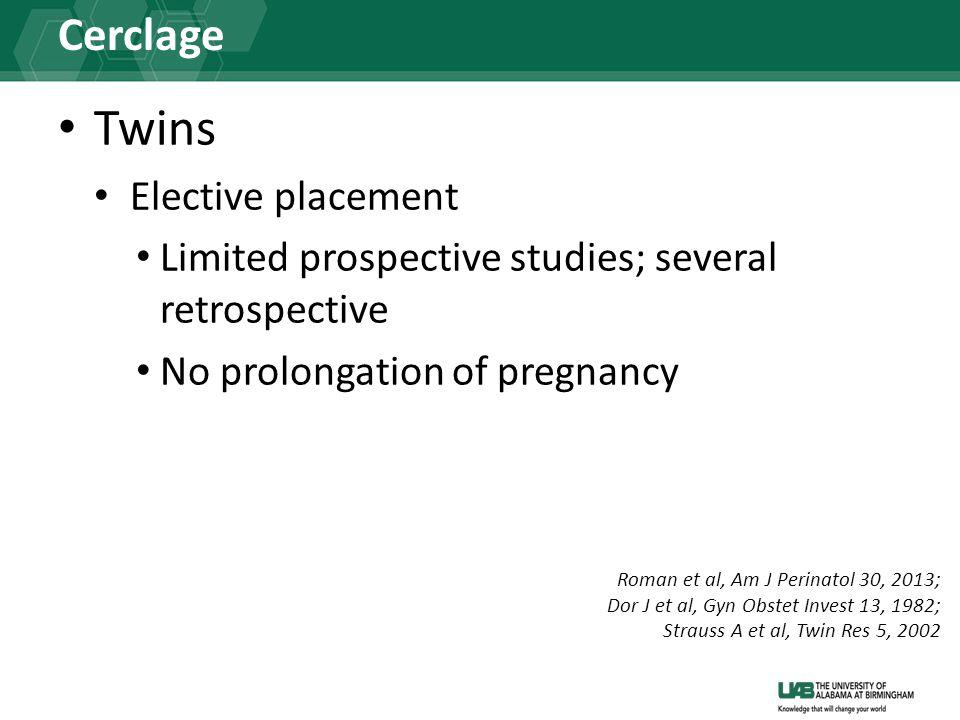Cerclage Twins Elective placement Limited prospective studies; several retrospective No prolongation of pregnancy Roman et al, Am J Perinatol 30, 2013; Dor J et al, Gyn Obstet Invest 13, 1982; Strauss A et al, Twin Res 5, 2002
